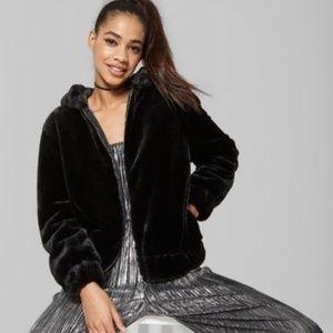 c1eefd19c Women's Fuzzy Faux Fur Zip-Up Jacket - Wild Fable